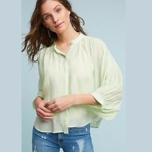 Anthropologie Maeve Brynna GreenBatwing Button Top